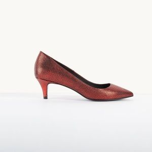 Maje Fia leather court pumps in metallic red